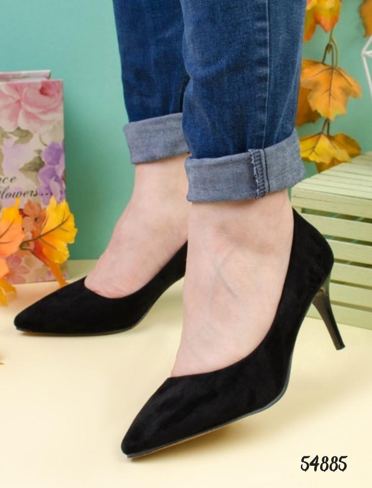 Женские туфли лодочки черные на каблуке 6 см эко-замш