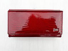 Кожаный красный кошелек на магните женский лаковый Balisa B826-38