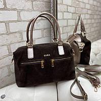 Женская замшевая сумка коричневая на каждый день модная молодежная натуральная замша+кожзам, фото 1