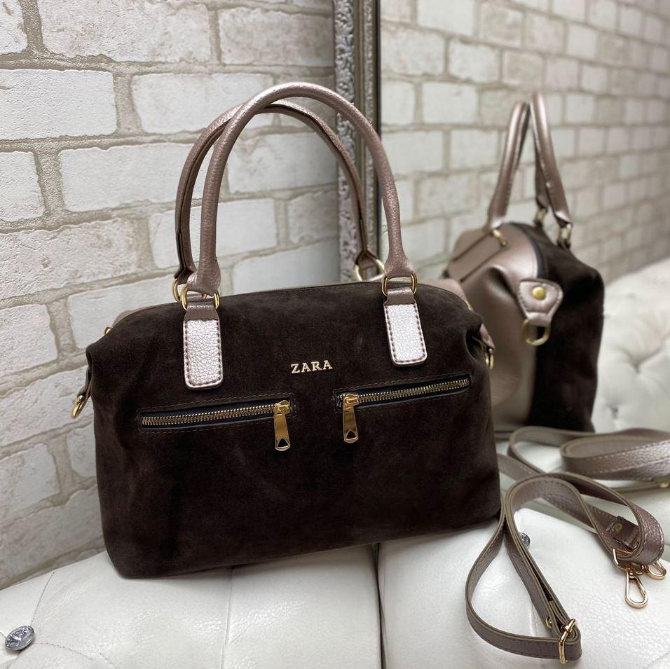 Женская замшевая сумка коричневая на каждый день модная молодежная натуральная замша+кожзам