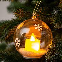 """Ёлочный шар со свечей """"Сказочные снежинки"""" стекло 10,5х8,5 см. (светится), фото 1"""