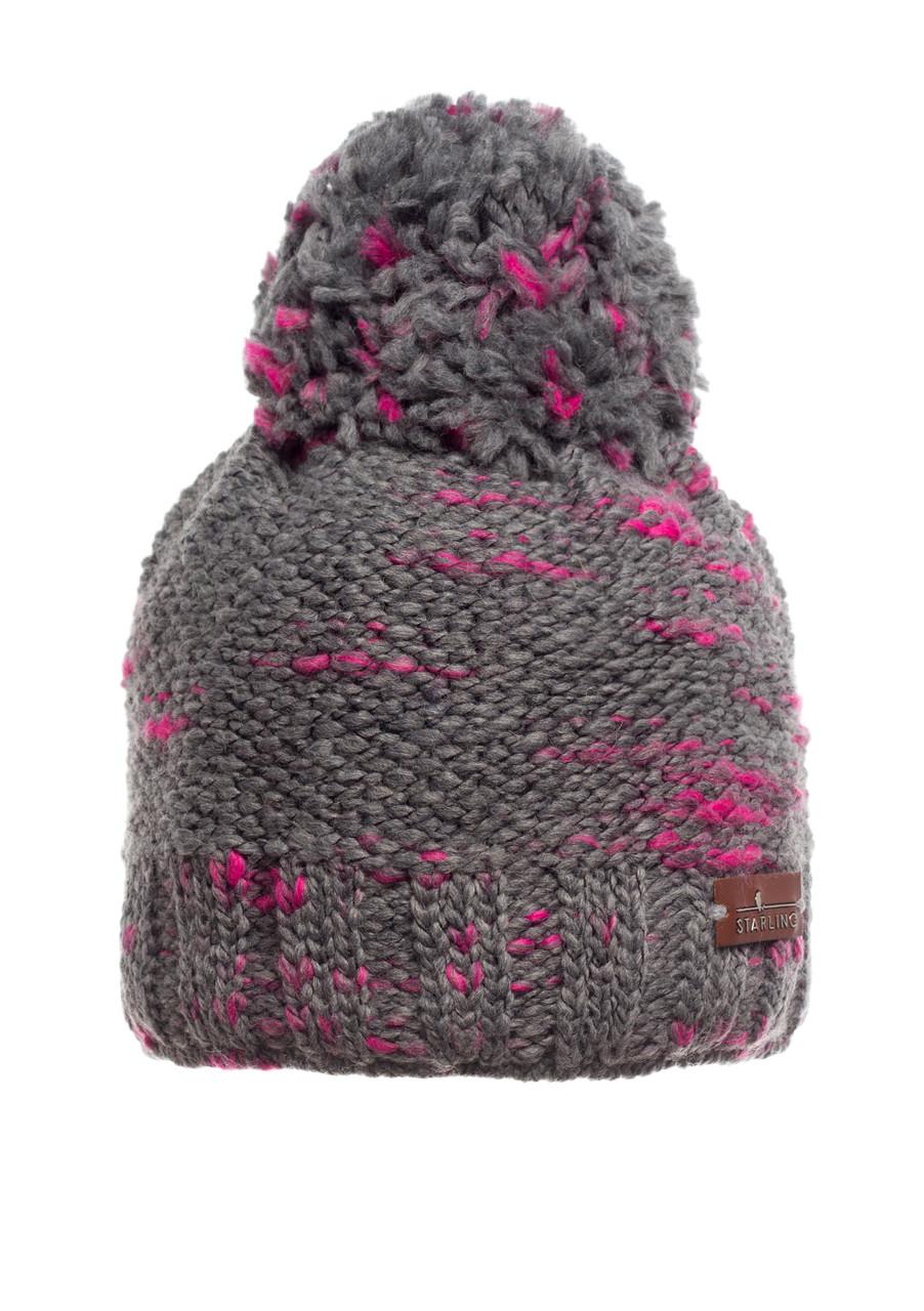 Подростковая вязанная шапочка с бумбоном серая с розовым, Starling Польша.