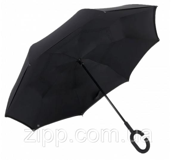 Зонт Наоборот Up-brella - Зонт Обратного Сложения   Черный