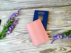 Обложка на паспорт кожаная цвета пудры с тиснением восточные узоры Украина ручная работа (матовая), фото 2