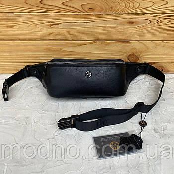 Мужская кожаная сумка бананка на пояс и через плечо H.T. Leather