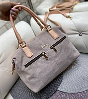 Большая замшевая женская сумка пудровая из натуральной замши классическая стильная вместительная, фото 1