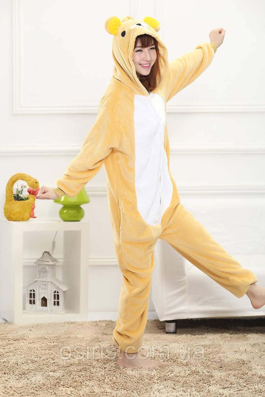 Пижама Кигуруми Мишка Тедди детский микрофибра (велсофт) / детские кигуруми Мишка Тедди Размер 130 140