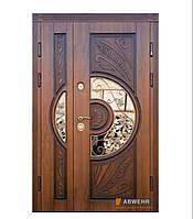 Входные полуторные двери со стеклом модель Sun Glass комплектація COTTAGE 1200