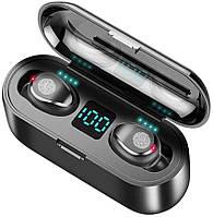 Беспроводные сенсорные Bluetooth наушники F9 TWS V5.0 с индикатором заряда и повербанком. Водонепроницаемые