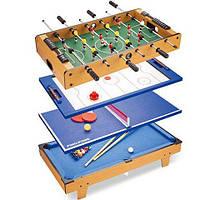 Настольная игра Bambi 4 в 1 HG207-4 | Игровой стол (настольный футбол, аэрохоккей, настольный теннис, бильярд)