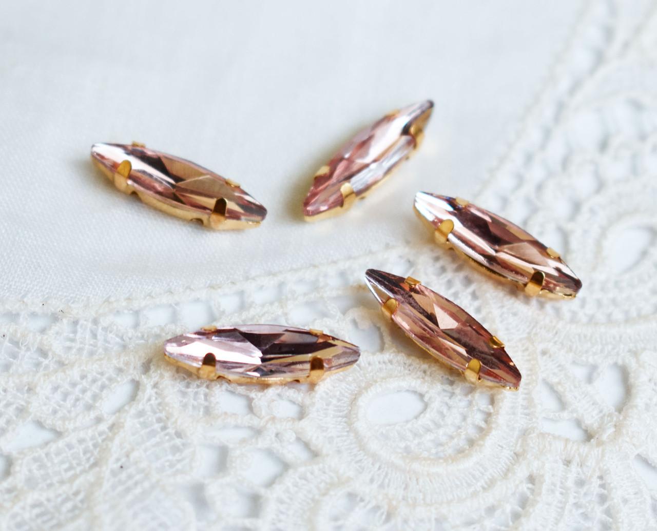 Стразы стеклянные Маркиз (Лодочка) 14х3 мм, в оправе, розовые