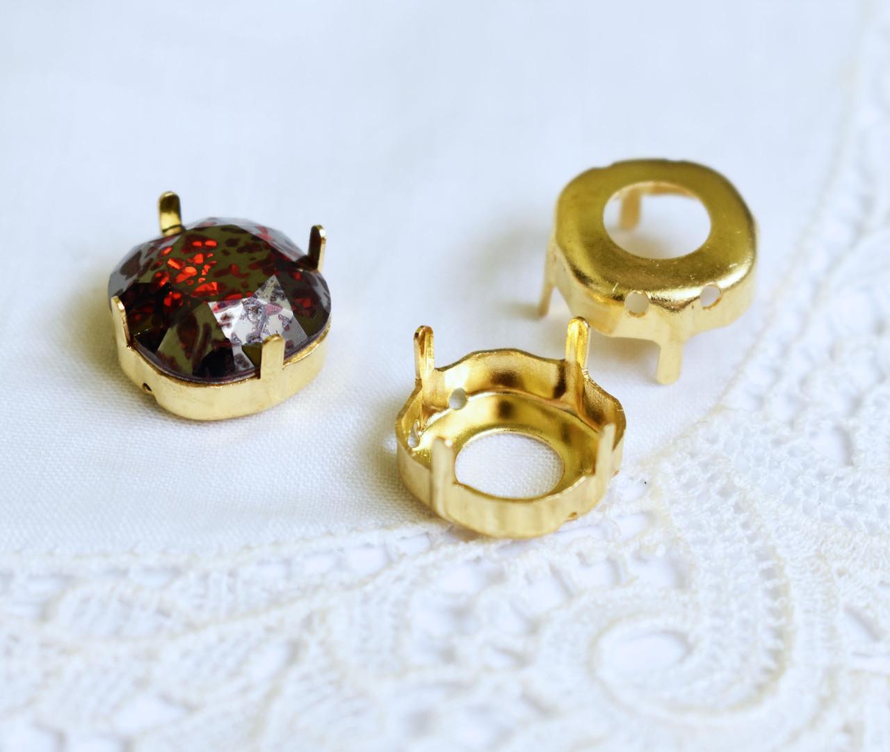 Оправа пришивная 12 мм для страз, золото