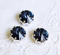 Стразы стеклянные в оправе Корона 12мм, синие / серебро