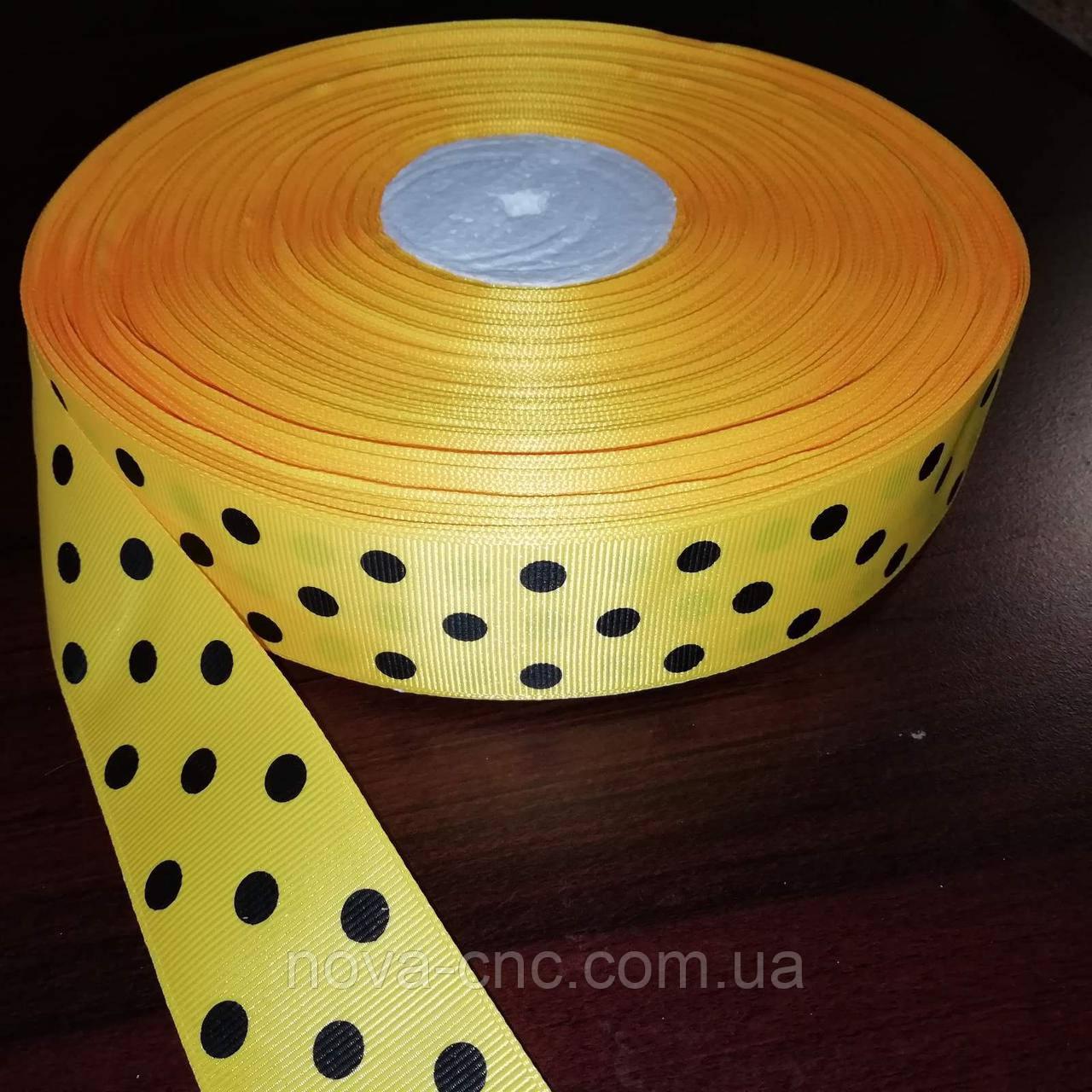 Лента репсовая желтая в черный горох 40 мм +/-100 ярдов