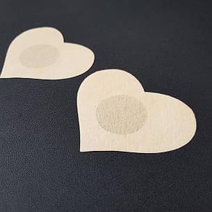 Наклейки на грудь одноразовые сердце бежевые - 419-08-2, фото 2