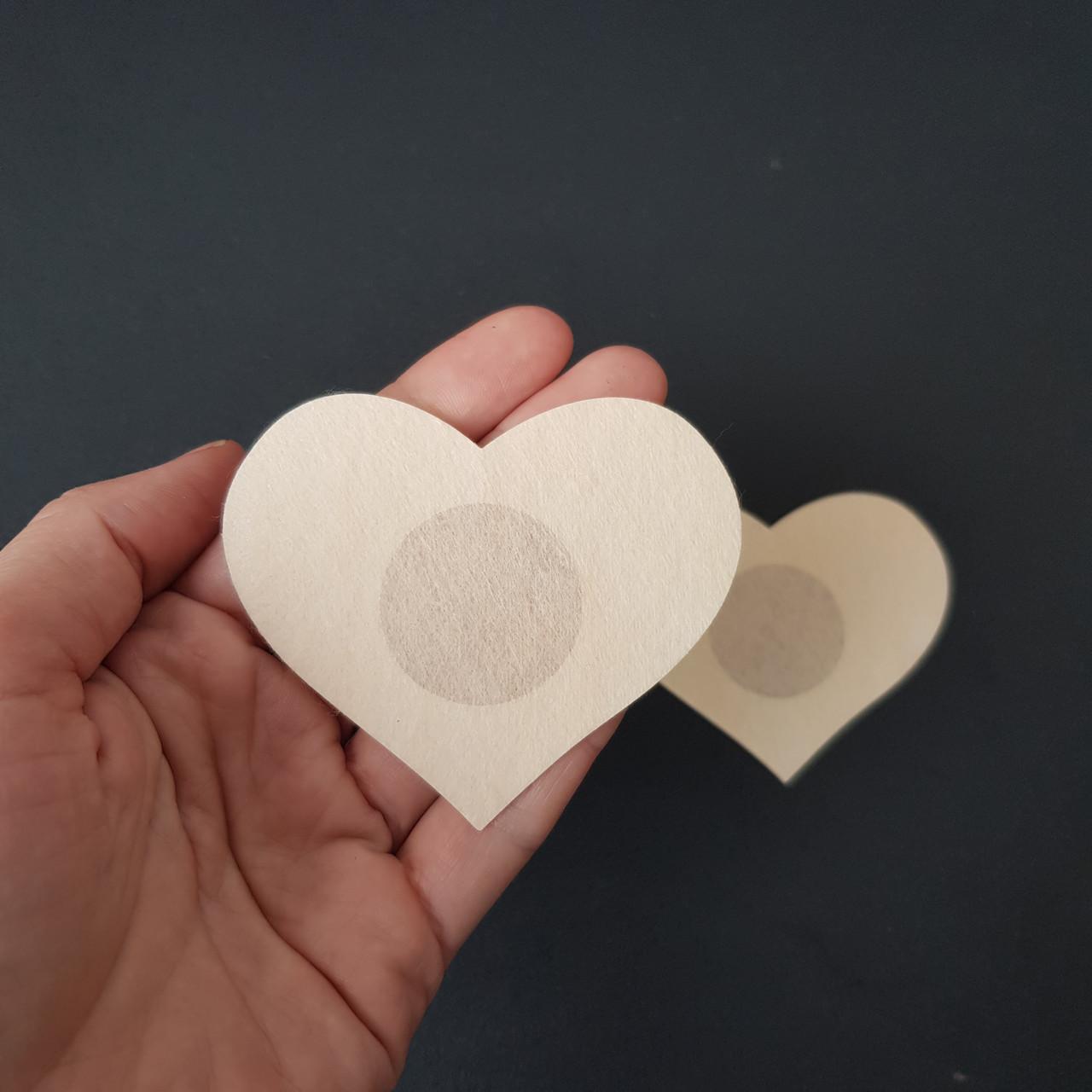 Наклейки на грудь одноразовые сердце бежевые - 419-08-2