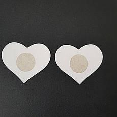 Наклейки на грудь одноразовые сердце бежевые - 419-08-2, фото 3