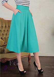 """Женская юбка с карманами """"Flora"""" 40, бирюзовый #A/S"""