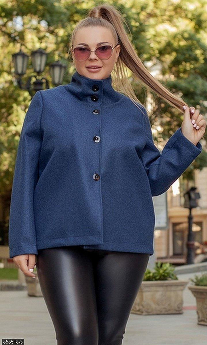 Пальто короткий кашемір синій Осінь Україна 50-52 великого розміру 858518-3