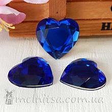 Акриловий камінь серце, 2,5 см, синій