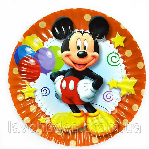 """Тарелки бумажные, одноразовые, праздничные """"Микки Маус (оранжевые)"""