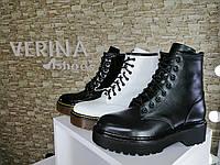 Ботинки женские из натуральной кожи черные змейкой шнуровкой на высокой подошве от производителя байка/овчина