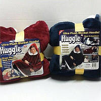 Толстовка-плед Huggle Ultra с капюшоном, двухсторонняя. Флисовая кофта с капюшоном Huggle Ultra, синяя.