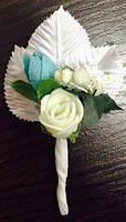 Бутоньерка роза для жениха, гостей, свидетелей айвори
