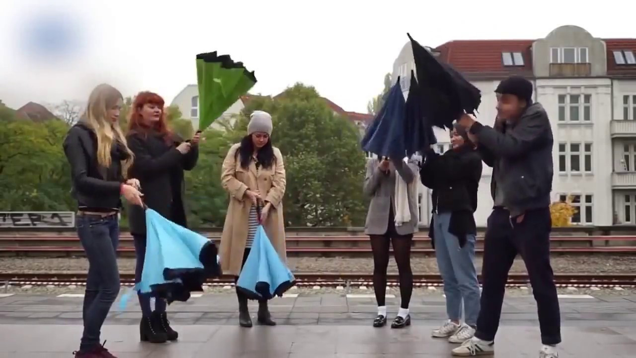 Ветрозащитный зонт наоборот Up-Brella. Зонт обратного сложения  Up-Brella