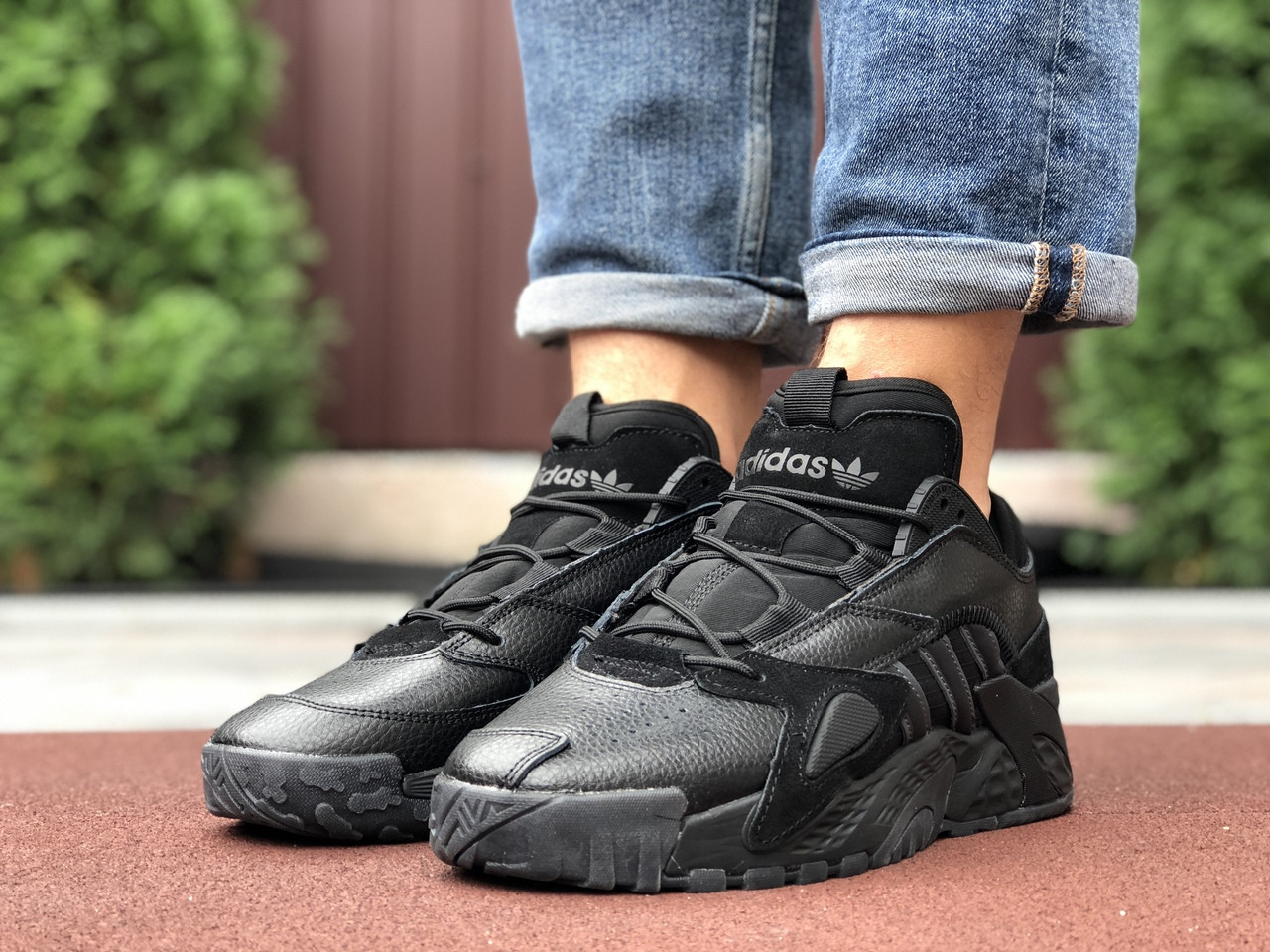 Мужские кроссовки Adidas Streetball (черные) 9863