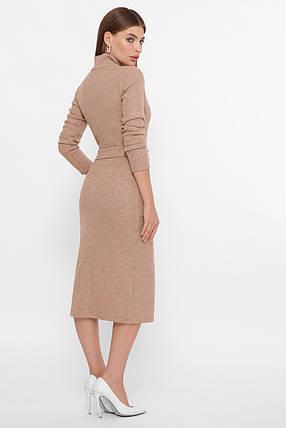 Мягкое платье миди из ангоры ниже колена темно-бежевое 44,46,48,50, фото 2