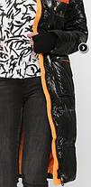 Крутой пуховик ниже колена зимний с манжетами 2021 с оранжевым размер 42-52, фото 3