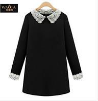Классическое черное платье с воротником большого размера