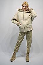 Куртка Дубленка Rr 2003 молочная с капюшоном