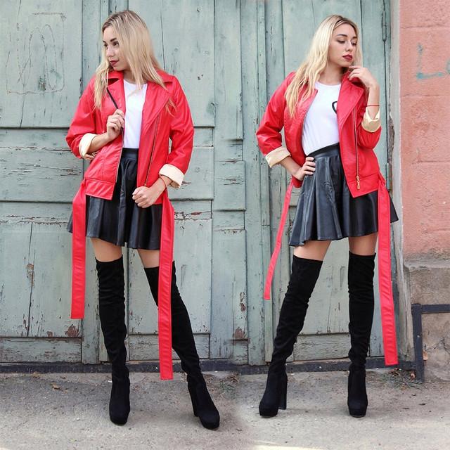 Жіноча куртка-косуха з еко шкіри