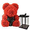 Мишка из Роз 25см + Подарок Роза в колбе / Мишка из цветов в подарочной коробке, фото 2