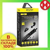 Распродажа! Вакуумные беспроводные блютуз наушники Awei T5 черные, bluetooth наушники для телефона
