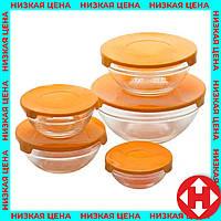 Набор стеклянных пищевых контейнеров для еды, 5 шт. с оранжевой крышкой, пищевой ланч бокс, фото 1