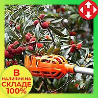 Плодосъемник для сбора фруктов и ягод, плодосборник яблок и пр., оранжевый, фото 1