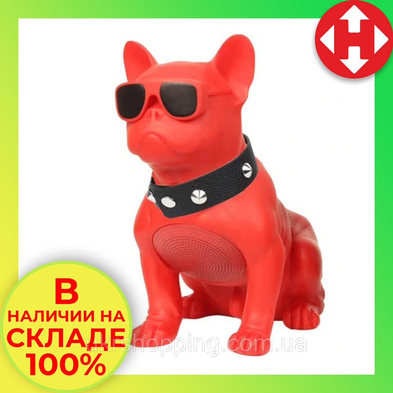 Распродажа! Музыкальная USB колонка собака (бульдог) красный, портативная bluetooth акустика c флешкой