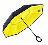 Зонт обратного сложения, антизонт, умный зонт, зонт наоборот Up Brella Жёлтый, фото 2