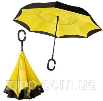 Зонт зворотного складання, антизонт, розумний парасольку, парасолька навпаки Up Brella Жовтий