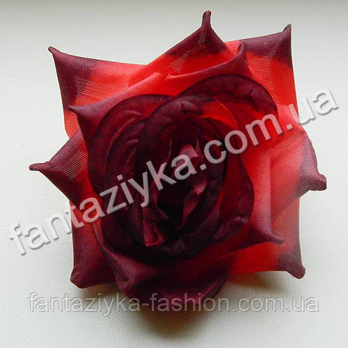 Головка искусственной розы (кардинал) бордовая 10см