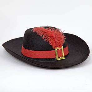 Шляпа Мушкетера черная маленькая, размер 52-54, фото 2