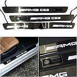Накладки на пороги з підсвічуванням поріжки LED для W205 C E class Mercedes-Benz в стилі С63 AMG Brabus Wald, фото 6