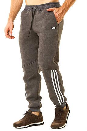 Теплые мужские штаны с белыми лампасами, фото 2