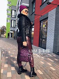Стильная женская куртка-косуха из экокожи на искусственном меху 44-46 р