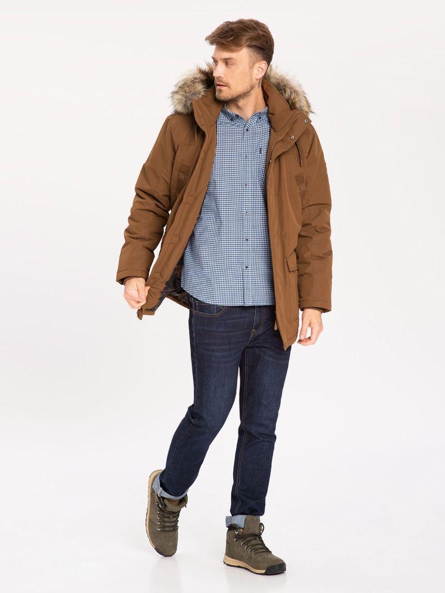 Зимняя мужская коричневая куртка парка Volcano J-Maxim M06180-510