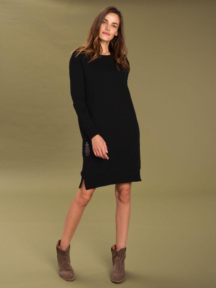 Черное платье-толстовка прямого кроя G - IVY