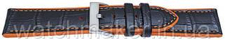 Ремешок для часов черный кожа + оранжевый   силикон 20 мм (18 мм)